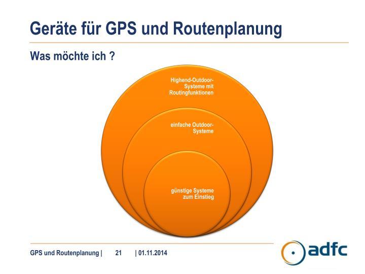 Geräte für GPS und Routenplanung