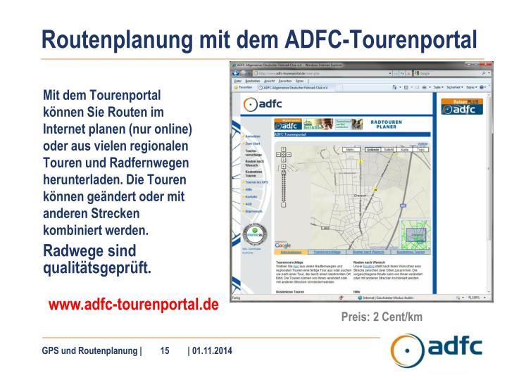 Routenplanung mit dem ADFC-Tourenportal