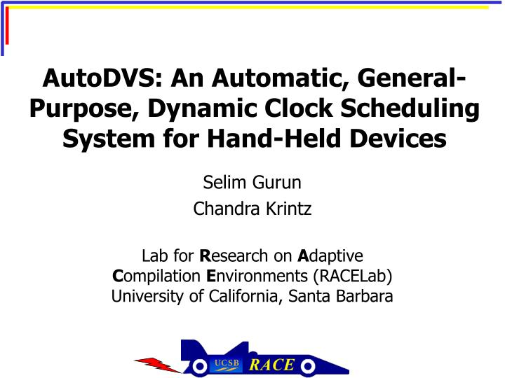 Autodvs an automatic general purpose dynamic clock scheduling system for hand held devices