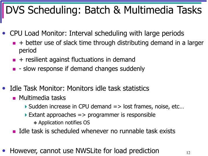 DVS Scheduling: Batch & Multimedia Tasks