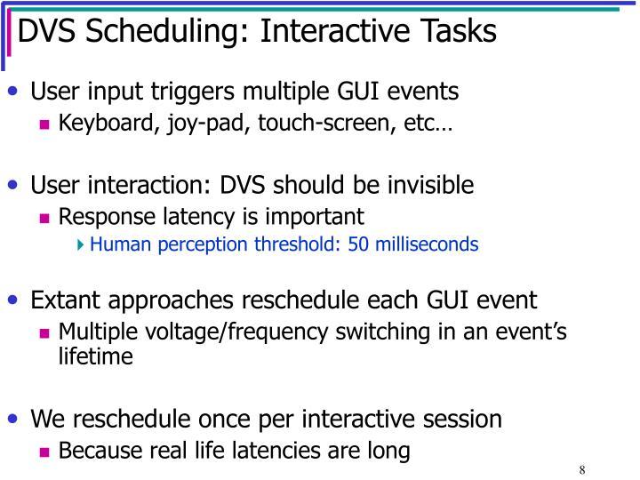DVS Scheduling: Interactive Tasks