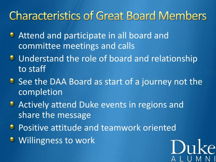 Characteristics of Great Board Members
