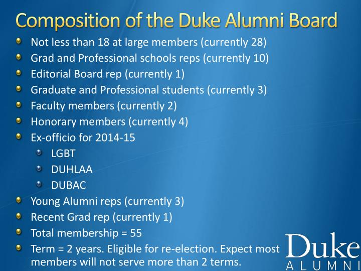 Composition of the Duke Alumni Board