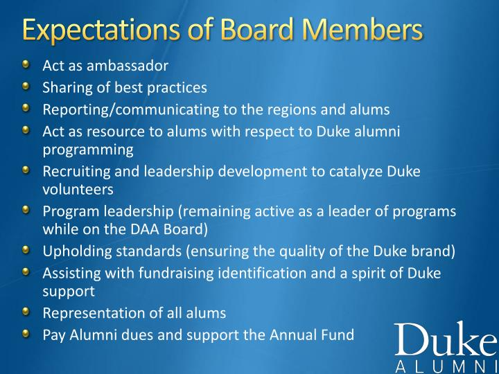 Expectations of Board Members