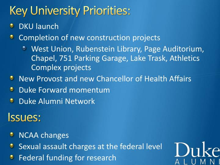 Key University Priorities: