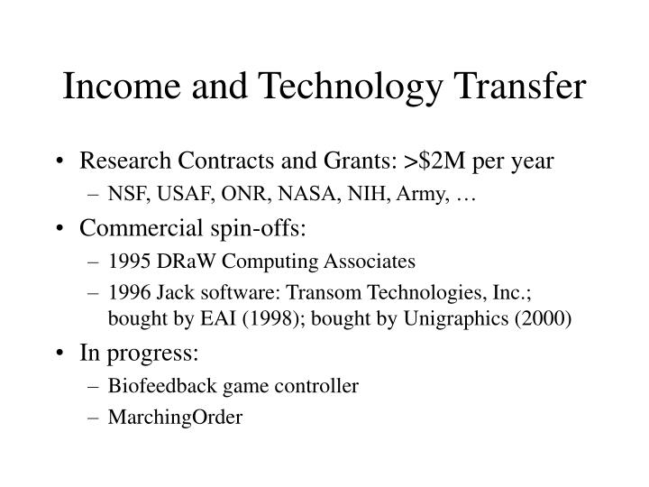 Income and Technology Transfer