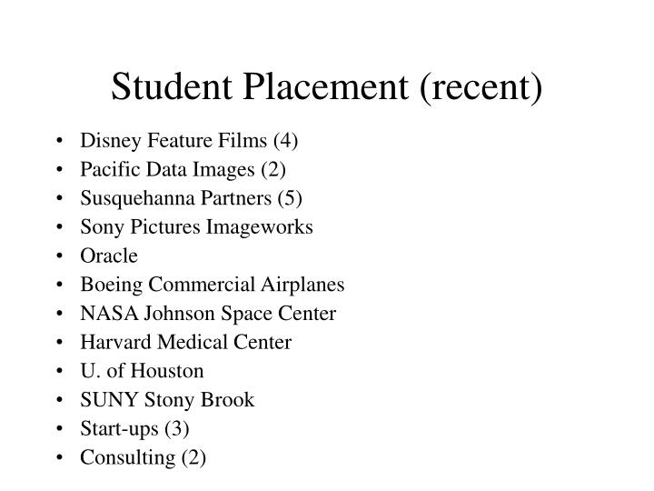 Student Placement (recent)