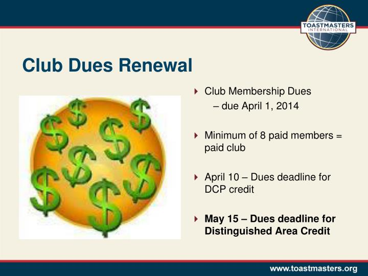 Club dues renewal