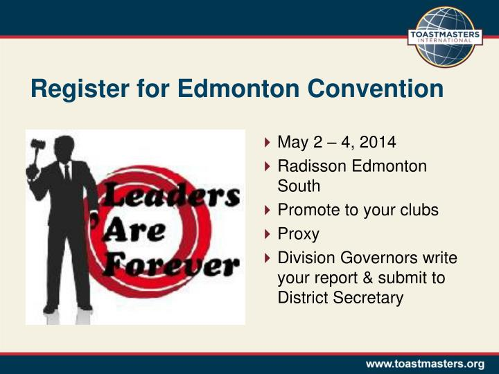 Register for Edmonton Convention