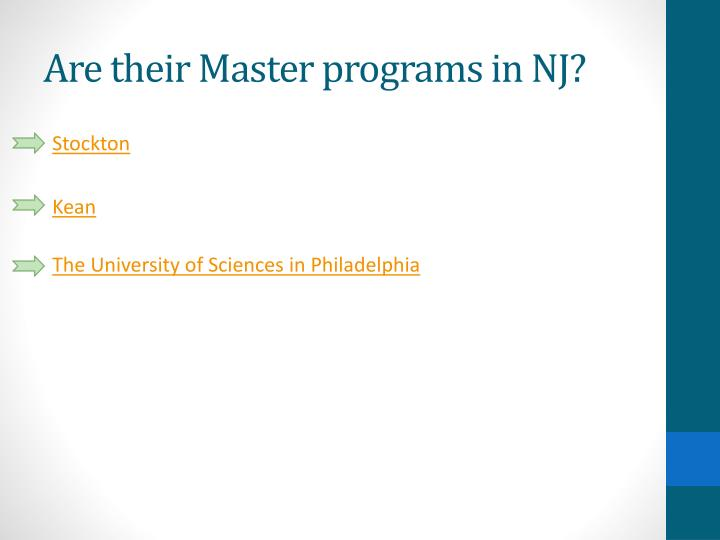 Are their Master programs in NJ?