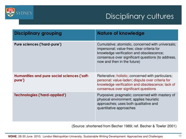 Disciplinary cultures