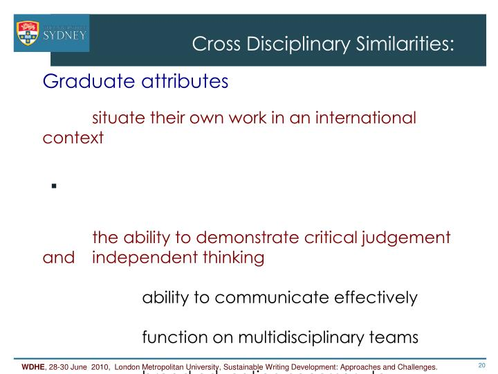 Cross Disciplinary Similarities: