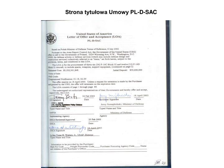 Strona tytułowa Umowy PL-D-SAC