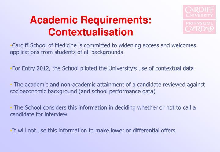 Academic Requirements: Contextualisation