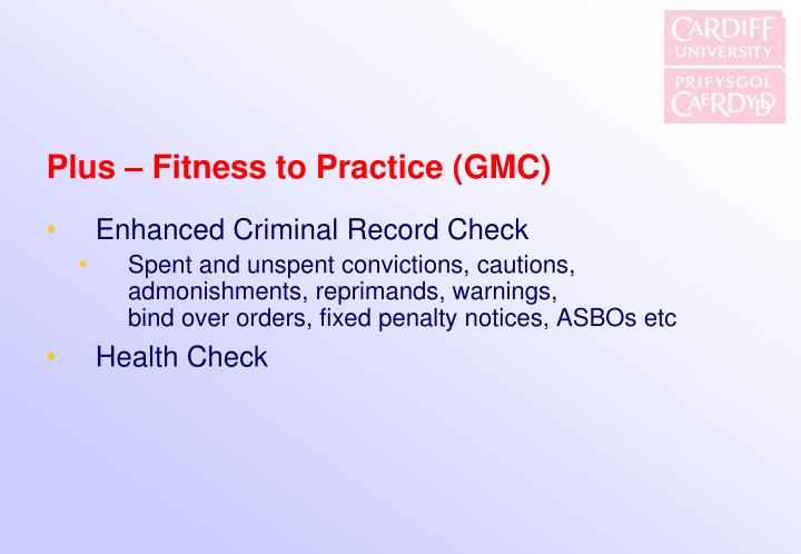 Plus – Fitness to Practice (GMC)