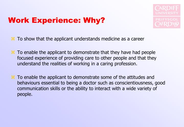 Work Experience: Why?