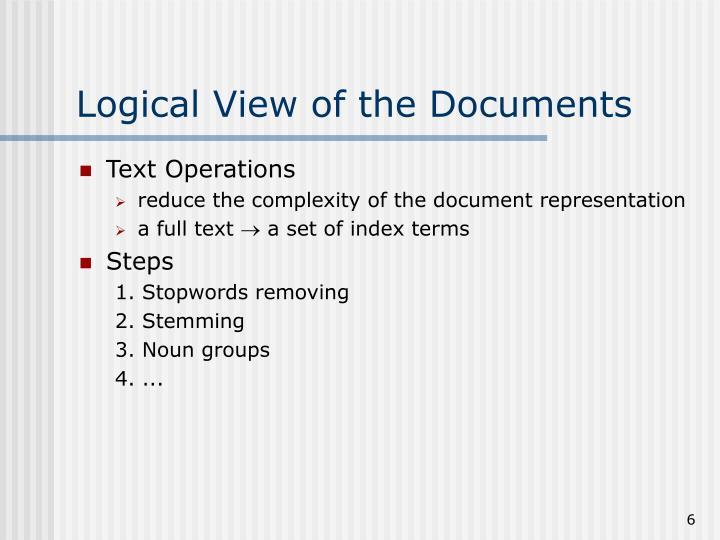 Logical View of the Documents