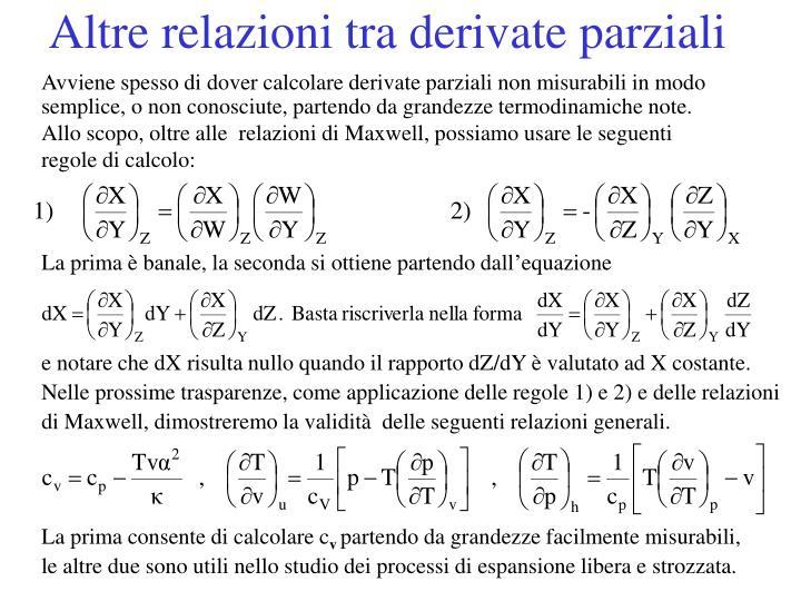 Altre relazioni tra derivate parziali
