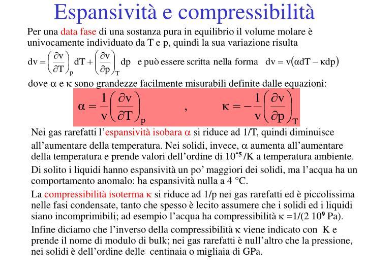 Espansività e compressibilità