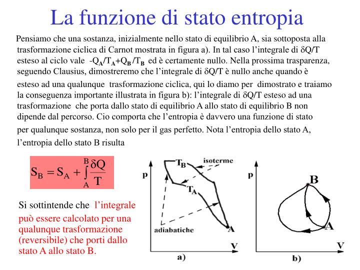 La funzione di stato entropia
