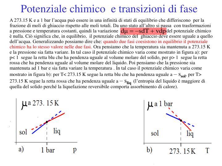 Potenziale chimico  e transizioni di fase