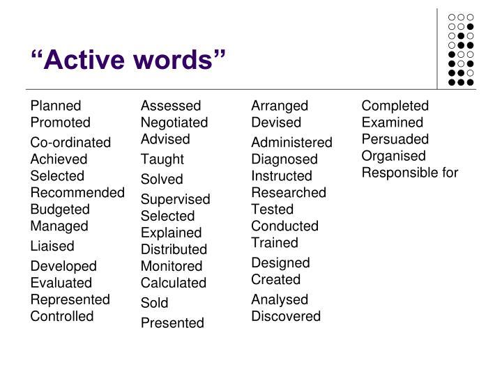 """""""Active words"""""""
