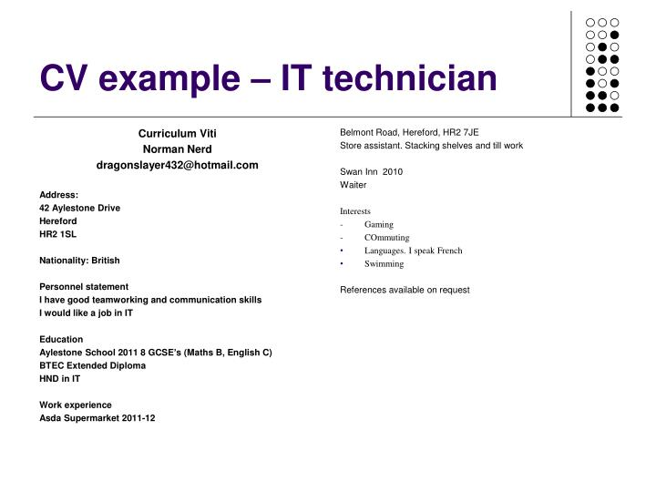 CV example – IT technician