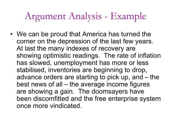 Argument Analysis - Example