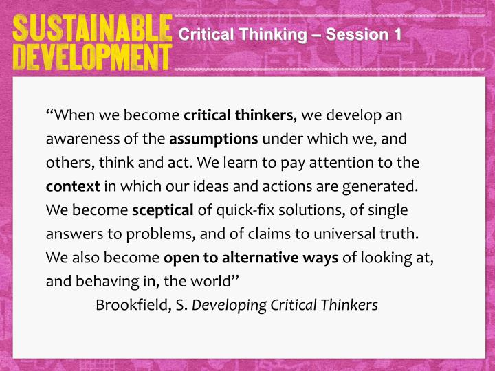 Critical Thinking – Session 1