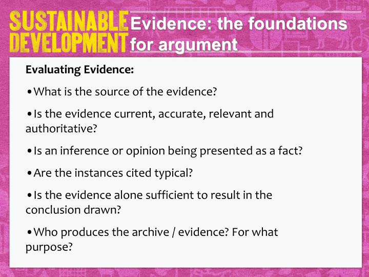 Evidence: the foundations for argument