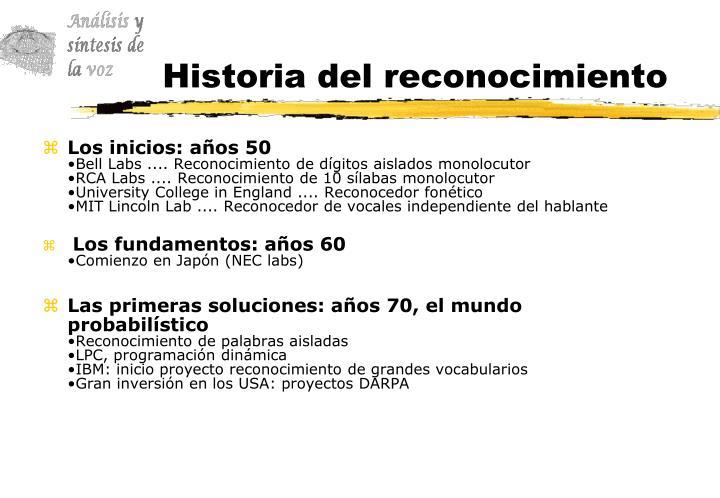 Historia del reconocimiento