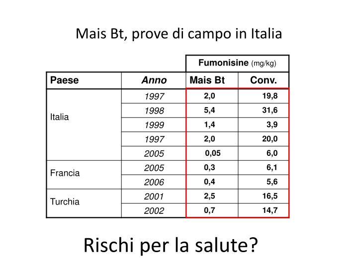 Mais Bt, prove di campo in Italia