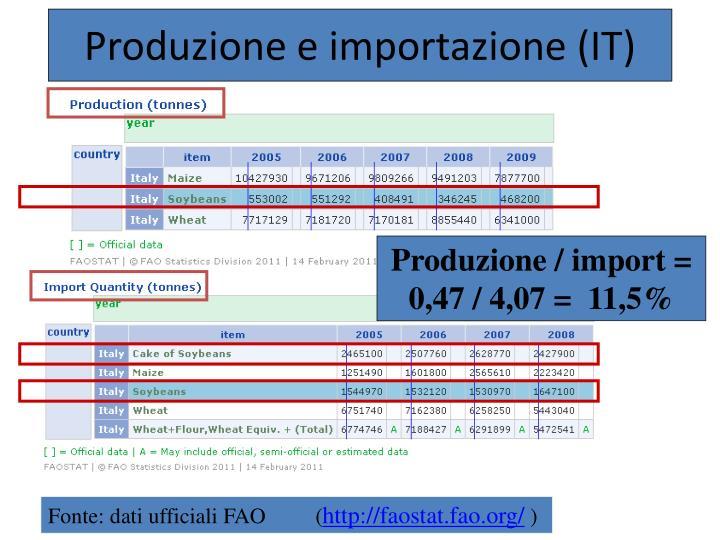 Produzione e importazione (IT)