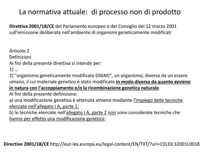 La normativa attuale:  di processo non di prodotto