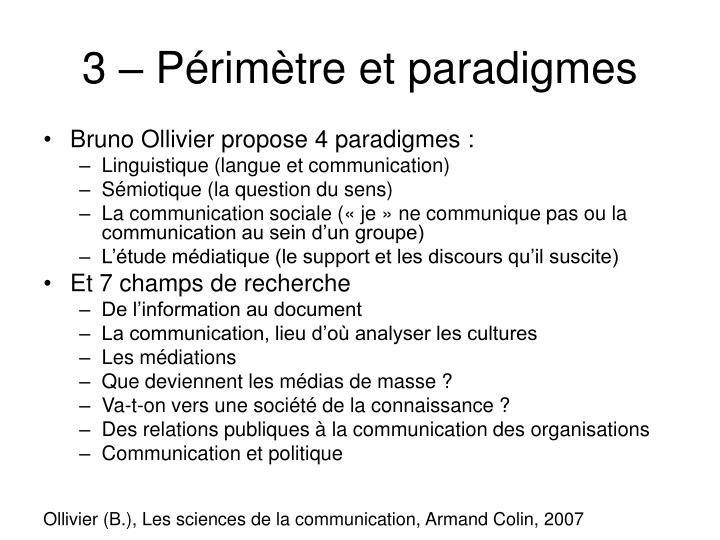 3 – Périmètre et paradigmes