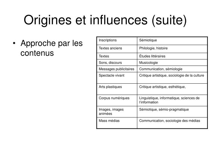 Origines et influences (suite)