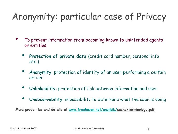 Anonymity particular case of privacy