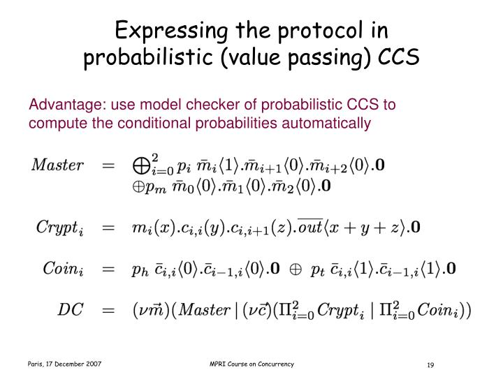 Expressing the protocol in probabilistic (value passing) CCS