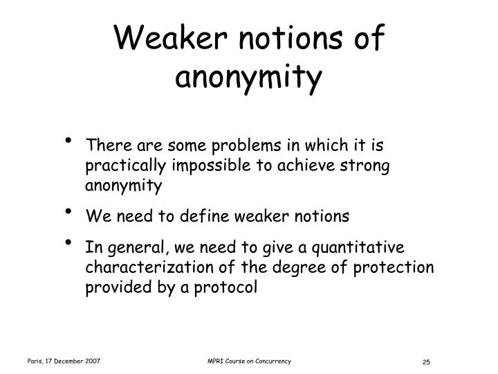 Weaker notions of anonymity