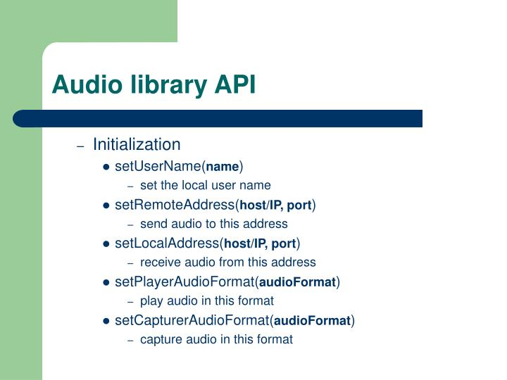 Audio library API