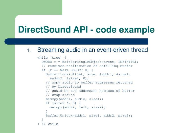 DirectSound API - code example