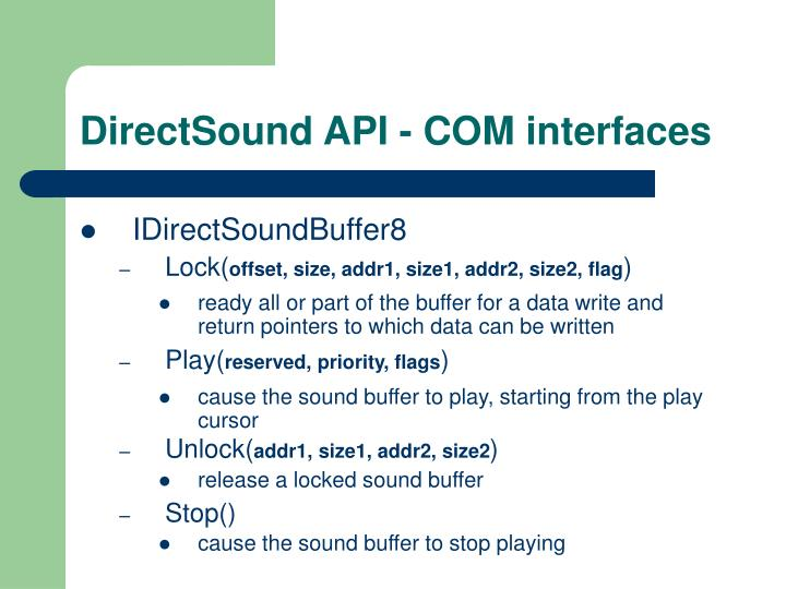 DirectSound API - COM interfaces