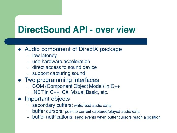 Directsound api over view