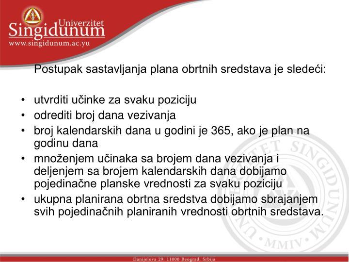 Postupak sastavljanja plana obrtnih sredstava je sledeći: