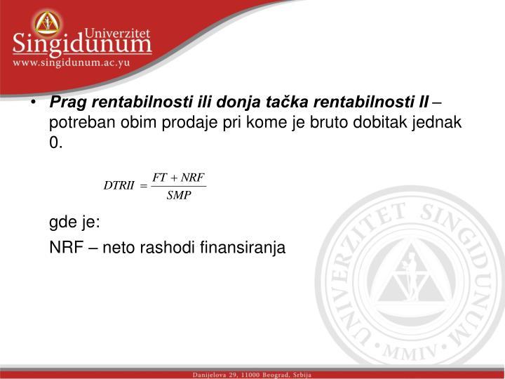 Prag rentabilnosti ili donja tačka rentabilnosti II