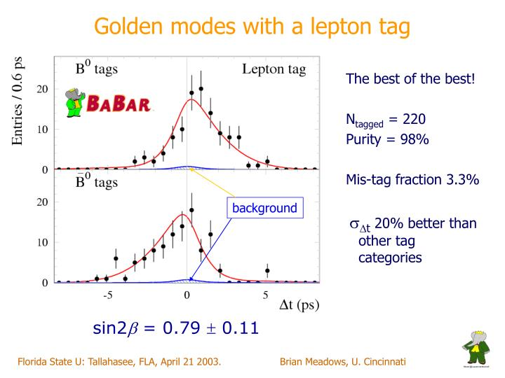 Golden modes with a lepton tag