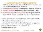 summary on cp measurements