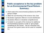 public acceptance is the key problem for an environmental fiscal reform summary