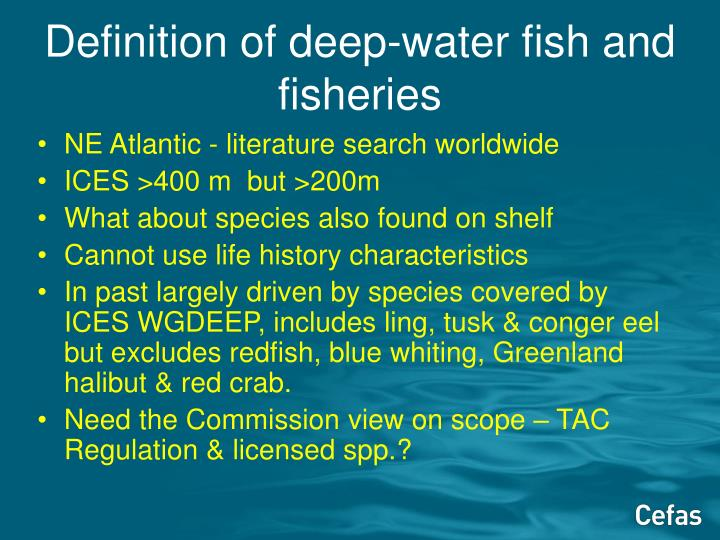 Definition of deep-water fish and fisheries