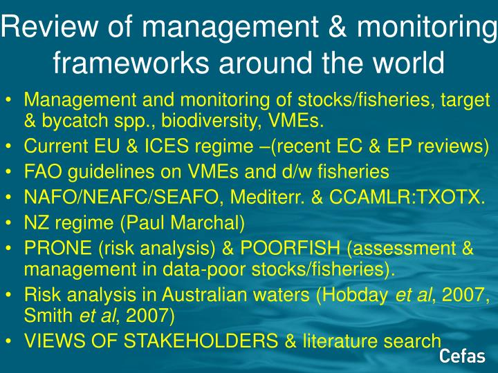 Review of management & monitoring frameworks around the world
